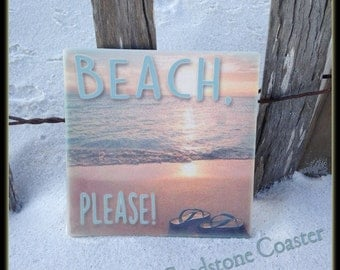 Set of 4 SandStone Coasters with cork back. Beach, Please