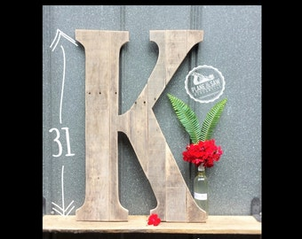 """31"""" Tall, Rustic Letter K; or any Letter - Barn Style Wedding Letter, Farm Style Decor, Reclaimed Wood, Monogram, 5th Year Anniversary"""