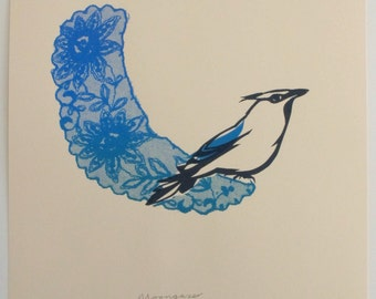 Limited edition screenprint. Bird and lace. By Catherine Cartwright. Fine art print