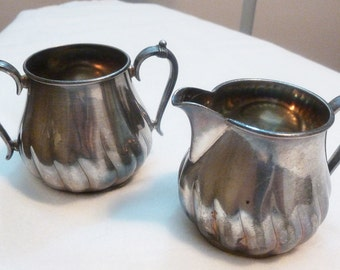James W. Tufts Boston Silver Plated Creamer&Sugarbowl