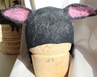 Black Hat Felted with Ears Black Sheep Hat Anime Cospaly as Ritsuka