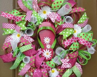 Summer Deco Mesh Wreath, Summer Mesh Wreath, Summer Wreath, Flip Flop Mesh Wreath