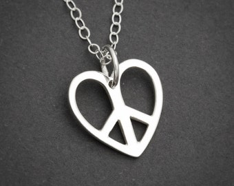 Peace Sign Heart, Sterling Silver, Peace Sign Necklace, Peace Sign Jewelry, Love Jewelry, Sterling Silver Heart Necklace