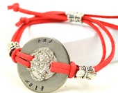 Bad Wolf //  Handstamped Washer Adjustable Red/Orange Bracelet with Rose Rhinestones // Doctor Who (Rose Tyler) Inspired // Handmade