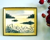 A Summer Sunset landscape - hand painted cotton with embroidered grasses in the foreground