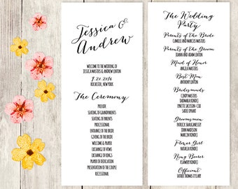 Wedding Program / Trendy Calligraphy / Bombshell Script Lettering / Black / Wedding Party / Ceremony ▷ Printable File {or} Printed & Shipped