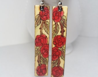 Wood Burned Crimson Rose Earrings