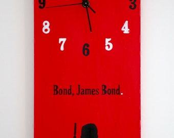 James Bond Clock / Handmade Clock / Bond / James Bond / Secret Agent / 007 / Character / Classic Films / Artwork / Original Art / Original