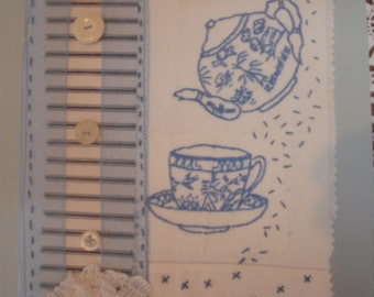 Handmade upcycled vintage fabric tea time collage picture 1930s fabrics hand embroidery