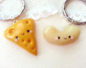 Mac and cheese friendship keychains, macaroni and cheese pendant, best friend charm, bff food necklace, kawaii charms, cheese keychain