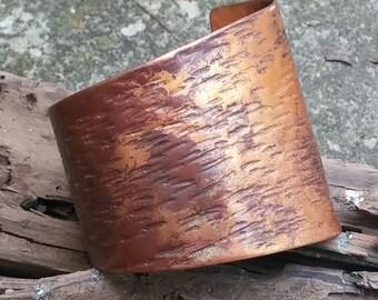 Asymmetrical Cuff, Oxidized Copper Cuff, Patina bracelet, Organic Patina Cuff, Unique Statement Bracelet, Textured cuff, Rustic Jewelry