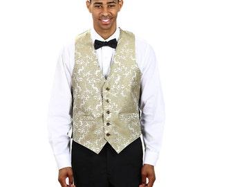 Men's Gold Paisley Pattern Jacquard vest