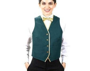 Women's Hunter Green Full Back Vest With Gold Trim