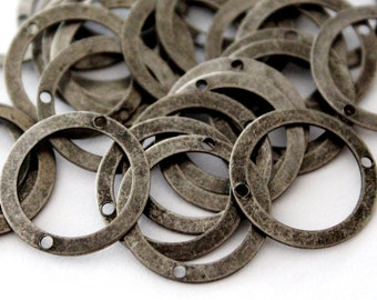 50 pcs 17 mm Two Side Hole Stainless Brass Antique Silver Color