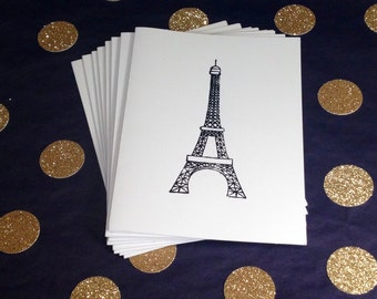 Eiffel Tower Folded Note Cards and Envelopes - Black and White - Set of 8