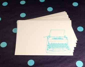 Folded Note Cards and Envelopes - Vintage Typewriter - Blue and White - Set of 8
