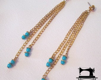 SALE 25% off, Earrings adorned with chains and beads