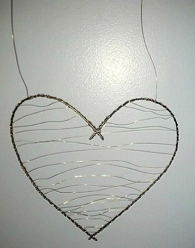 Decorative Wall Hanging Hearts : Wire heart wall decor handmade ooak home