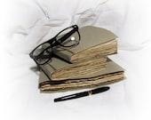 SALE! bulk set of 3 vintage journals, rustic primitive journals, vintage notebooks, diary, smashbooks, blank books