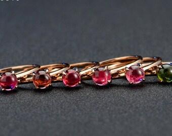 Red or Green Tourmaline Ring in 14k Rose Gold Engagement Wedding Birthday Anniversary Valentine's