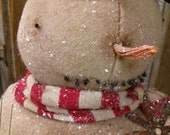 Primitive Snowman Vintage box Winter Christmas Carrot nose Let it snow Christmas in July OOAK FAAP Hafair