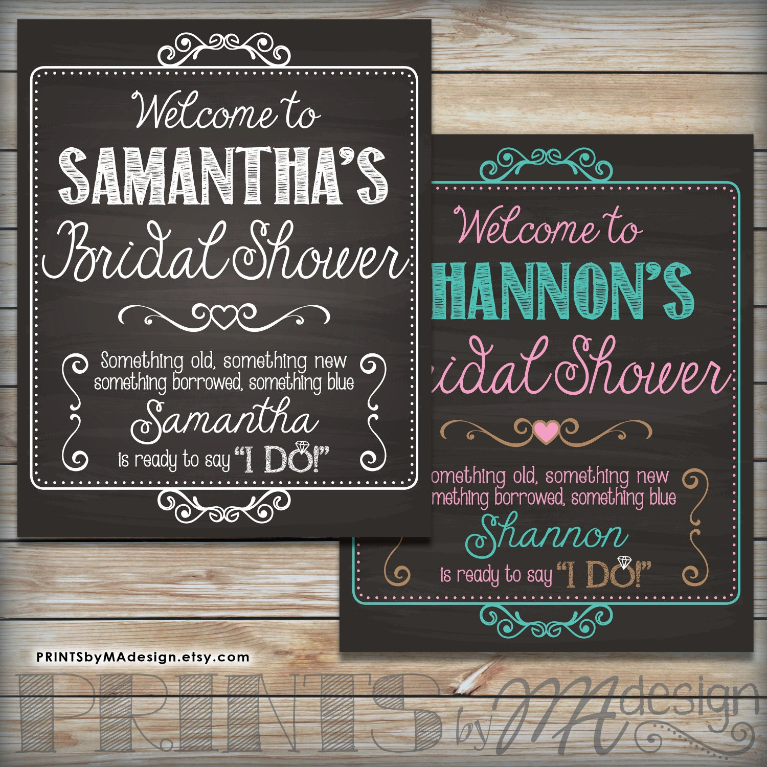 Bridal shower sign personalized bridal shower by for Wedding shower signs