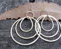 Gold Hoop Earrings, Big Hoop Earrings, Light Weight Hoop Earrings, Hoop Earrings, Big Dangle Earrings, Triple Hoop Earrings