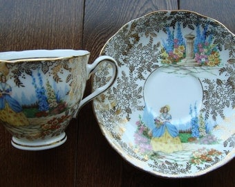 Colclough Crinoline Lady - Bone China Made in England - Vintage Tea Cup and Saucer
