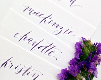Custom Hand Lettered Calligraphy Place Cards {choose a color}