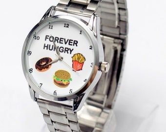 Forever Hungry Food Watch, Stainless Steel Humor Watch, Burgers Fries Doughnut Art Watch, Funny Jewelry Gifts, Diner Chef Cook Gift Present