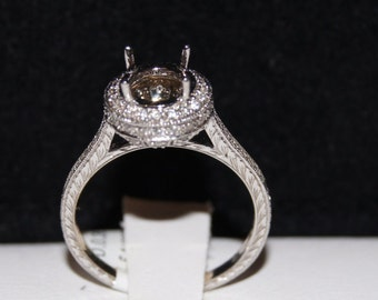Antique inspired 14k White Gold Halo  Engraved Diamond Engagement Ring ,Semi Mount  , Setting only , for different sizes of round cut stone