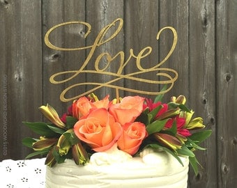 LOVE Cake Topper - Wedding Reception Topper - Handlettered Wood Signage