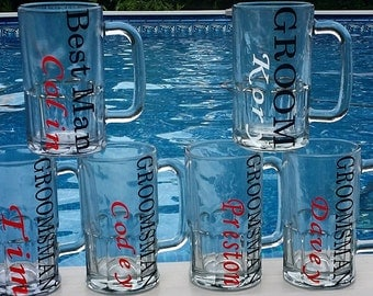 Set of 7 Groomsmen Glasses