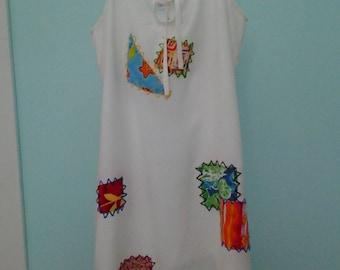 1980's Boho Patch Work Dress Medium Large Vintage