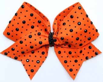 Orange and Black Polka Dot Cheer Bow