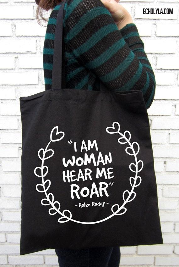 I am woman hear me roar Helen Reddy Black Tote Bag - photo#5