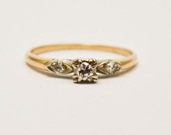 14 Karat Two Tone Vintage Diamond Engagement Ring