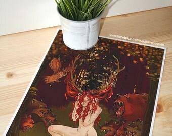 """Print """"Alone"""", digital print, fantasy, woman, girl, desing"""