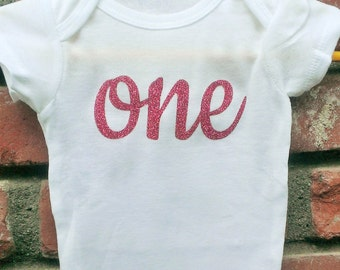 Glitter Birthday / First Birthday Onesie. Girl's First Birthday onesie. Birthday Outfit. Birthday Shirt. Baby Girl Glitter Birthday Shirt