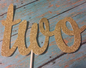 Second Birthday Cake Topper, TWO Cake Topper, Gold TWO Cake Topper, Gold Second Birthday, Pink and Gold Cake Topper