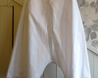 1900s crotchless linen bloomers with adjustable waist