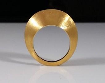 Mat gold chevalier ring / pinky finger ring