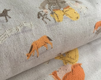 Pony Play GREY Heather Ross Far Far Away for Kokka Fabric