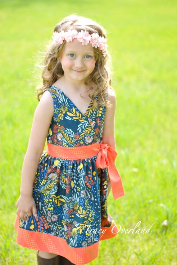Megan's Wrap Top & Dress. PDF sewing pattern for toddler girl sizes 2t - 12.