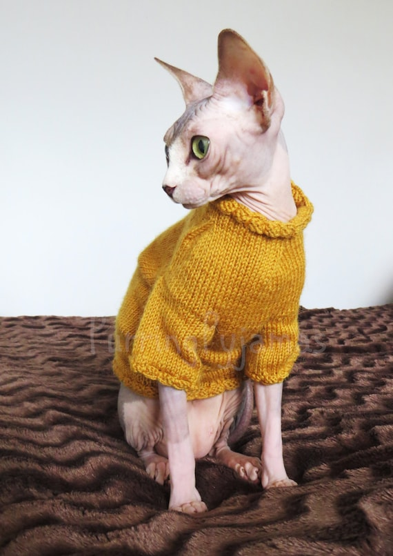 Cat Coat Knitting Pattern : Cat clothes warm sweater knitted by purringpyjamas
