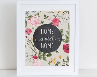 Home Sweet Home Printable Art Print, Inspirational Wall Art, Instant Download,  Printable Home Decor, Digital Art Print, Typography Art