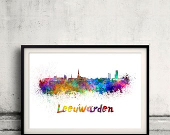 Leeuwarden skyline in watercolor over white background with name of city 8x10 in. to 12x16 in. Poster art Illustration Print  - SKU 0553