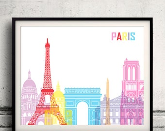 Paris pop art skyline 8x10 in. to 12x16 in. Fine Art Print Glicee Poster Gift Illustration Pop Art Colorful Landmarks - SKU 0631