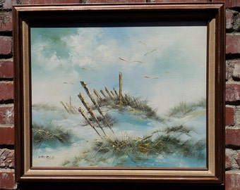 Original Oil Painting Landscape Signed Ocean Dunes Beach