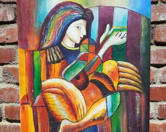 Original Abstract Oil Painting Woman Playing Guitar By A. Wood